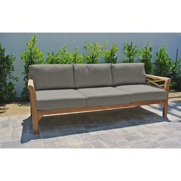 Vermehr Standard Teak Patio Sofa with Sunbrella Cushions by Foundry Select