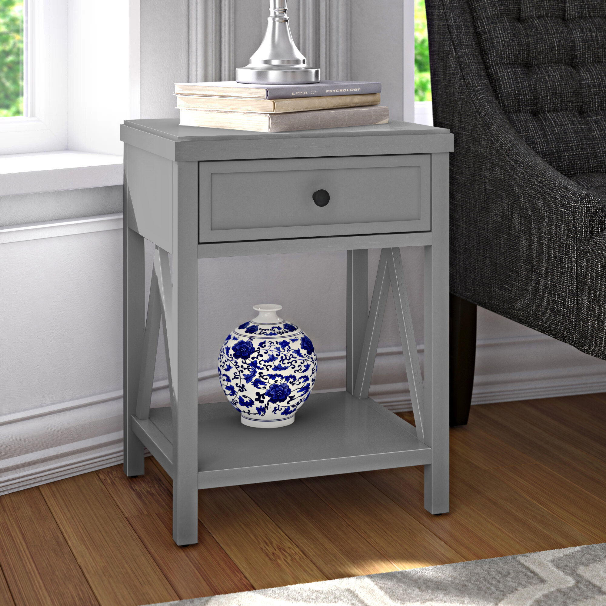 Leen 9 - Drawer Nightstand in White