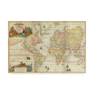 Vintage world map decor wayfair world map vintage advertisement on wrapped canvas gumiabroncs Gallery