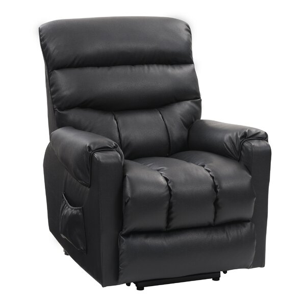 Rolph Leather Power Lift Assist Recliner Red Barrel Studio W001883467