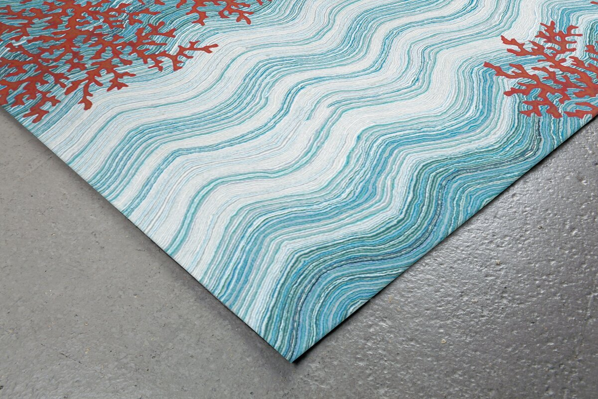 Visions Iv Water Coral Reef Indoor Outdoor Area Rug