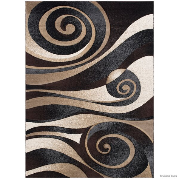 Floral Spiral Black/Brown Area Rug by AllStar Rugs