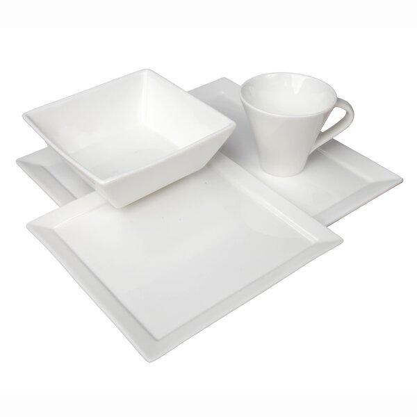 Tavola Vitrified China 16 Piece Dinnerware Set, Service for 4 by Fortessa