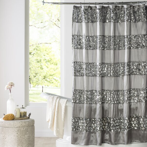 Brunilda Bedazzled Bling Fabric Shower Curtain by House of Hampton