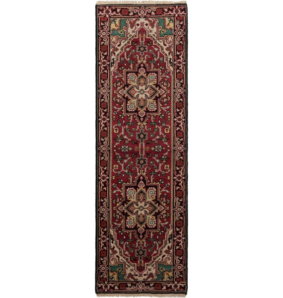 One-of-a-Kind Larsen Geometric Hand-Knotted Wool Red Area Rug by Bloomsbury Market