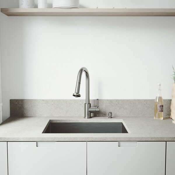 23 inch Undermount Single Bowl 16 Gauge Stainless Steel Kitchen Sink with Harrison Chrome Faucet, Grid, Strainer and Soap Dispenser by VIGO
