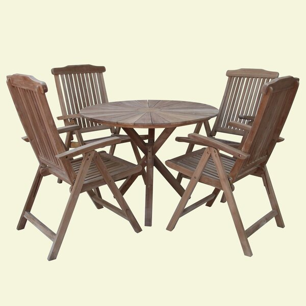 Mathilda 5 Piece Teak Dining Set by Rosecliff Heights