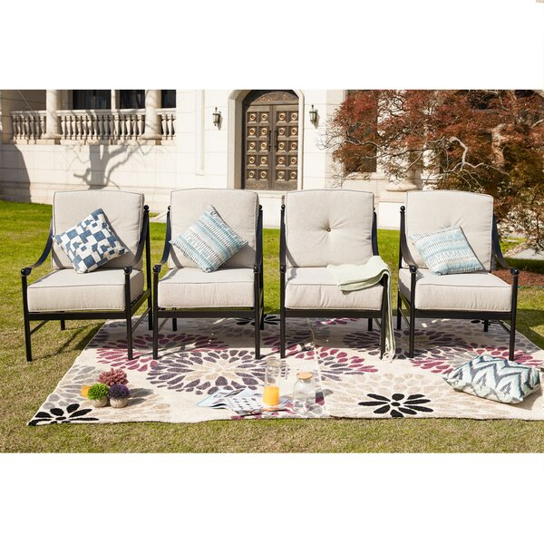 Ritchie Lounge Patio Chair With Cushions (Set Of 4) By Alcott Hill by Alcott Hill New
