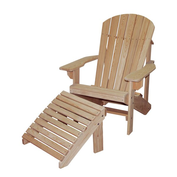 Solid Wood Adirondack Chair with Ottoman by Hershy Way