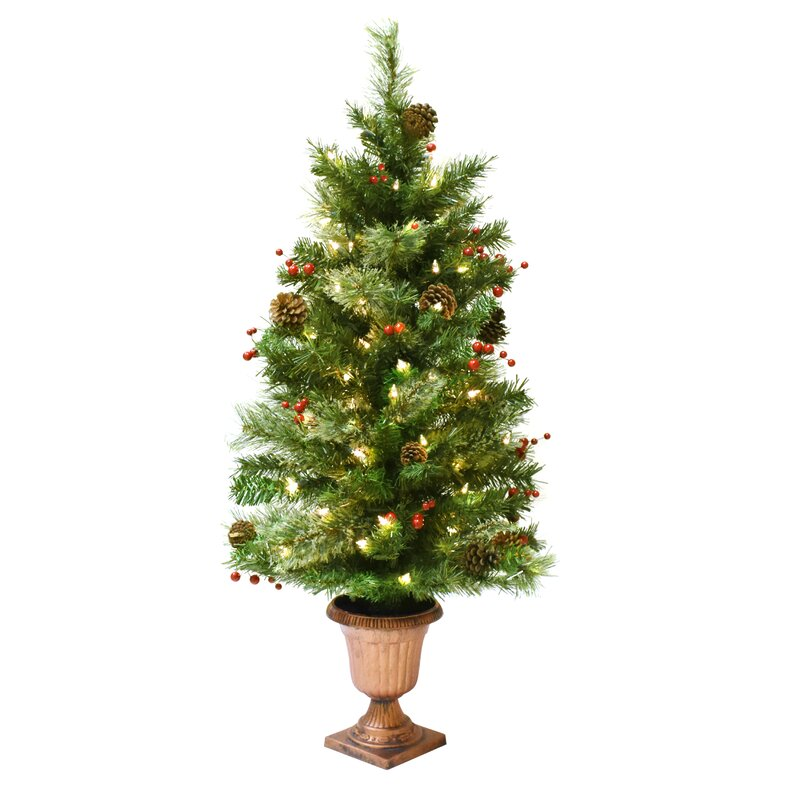 Artificial Christmas Tree with Lights and Urn