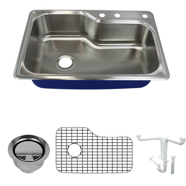 Meridian 33 L x 22 W Drop-In Kitchen Sink with Sink Grid and Drain Assembly by Transolid