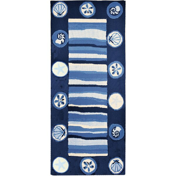 Vu Stripes and Shells Hand-Woven Blue Indoor/Outdoor Area Rug by Highland Dunes