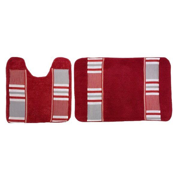 Asherton Decorative Rectangle Striped piece Bath Rug Set (Set of 2)