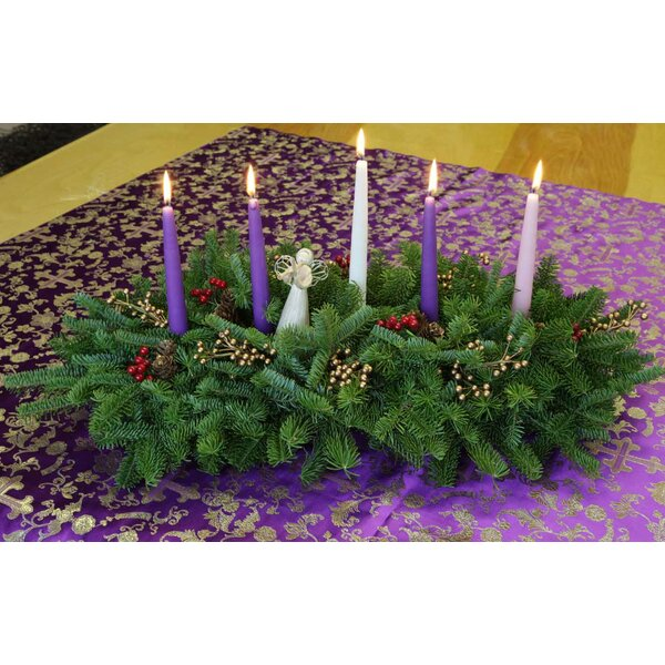 Faith Christmas Grace Advent 5 Candle Centerpiece by Worcester Wreath Inc.