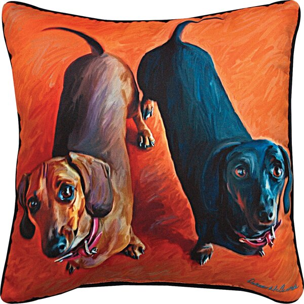 Double Duchies Daschund Throw Pillow by Manual Woodworkers & Weavers