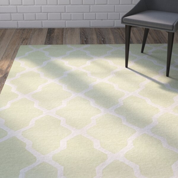 Charlenne Hand-Tufted/Hand-Hooked Light Green/Ivory Area Rug by Zipcode Design