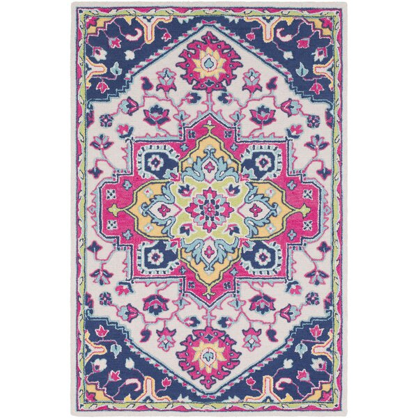 Withams Floral Hand Tufted Wool Bright Pink/Dark Blue Area Rug by Bungalow Rose