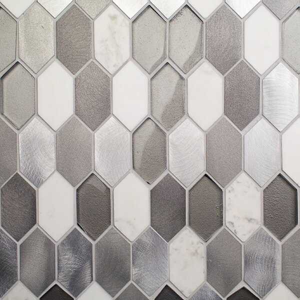 Fortis 1.43 x 2.75 Metal/Marble/Glass Mosaic Tile in Brushed Polished Gray/White by Splashback Tile