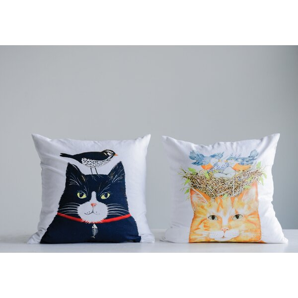Lieberum 2 Piece Cat with Birds Cotton Throw Pillow Set by August Grove