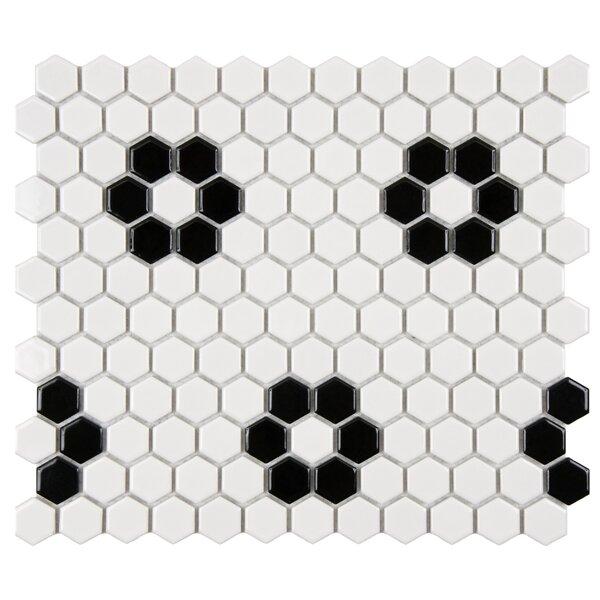Retro 1 x 1 Porcelain Mosaic Tile in Matte Black/White by EliteTile