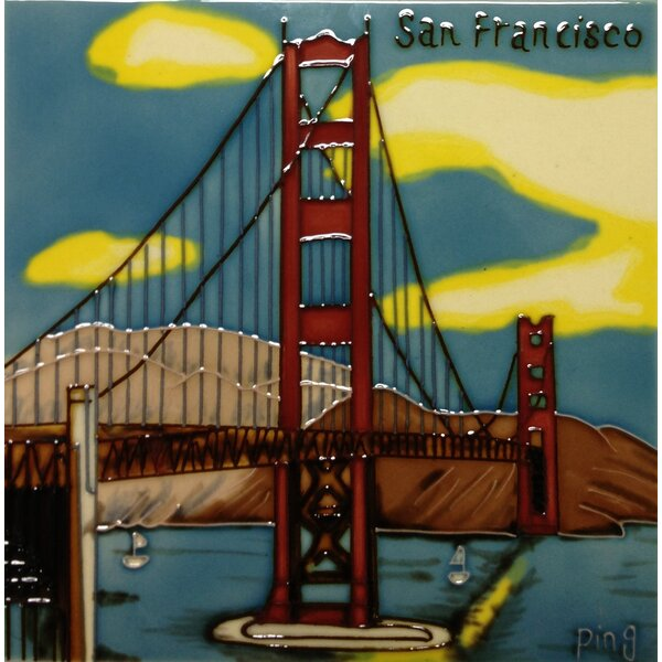 Golden Gate Bridge Tile Wall Decor by Continental Art Center
