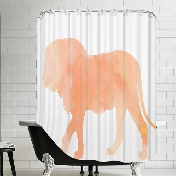 Grossular Coral Lion Shower Curtain by House of Hampton