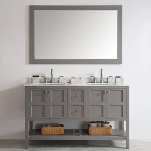 Caldwell 60 Double Bathroom Vanity Set With Mirror