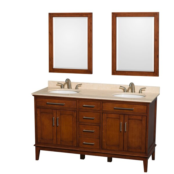 Hatton 60 Double Light Chestnut Bathroom Vanity Set with Mirror by Wyndham Collection