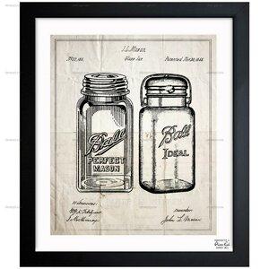 Mason Jar - Adapted 1853 Framed Graphic Art by Laurel Foundry Modern Farmhouse