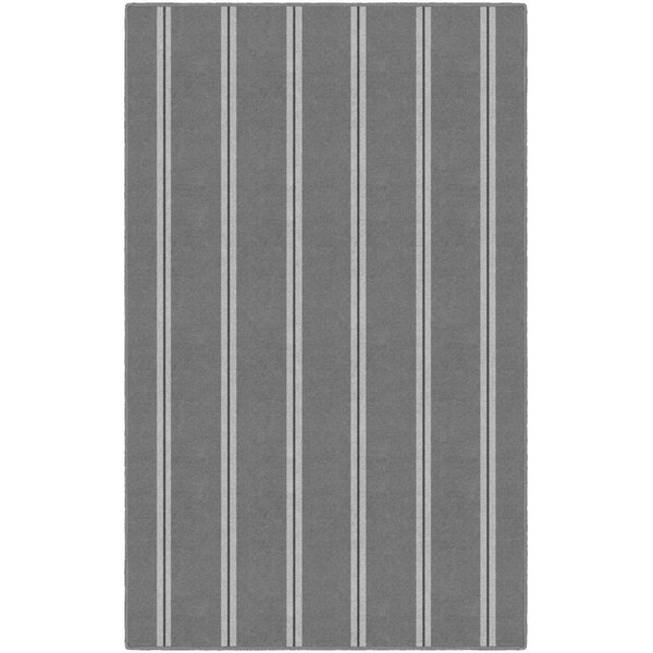 Jalynn Traditional Vertical Striped Gray Area Rug by Highland Dunes