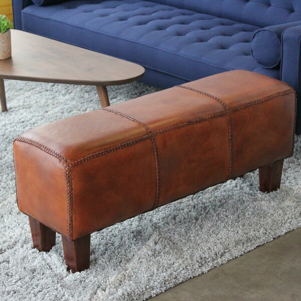 Aaryahi Leather Bench by Millwood Pines Millwood Pines
