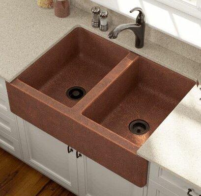 35.13 L x 24.75 W Equal Double Farmhouse Kitchen Sink