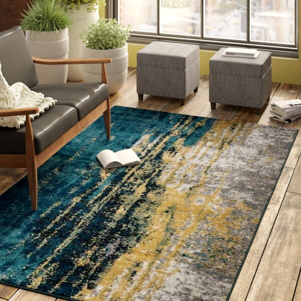Costales Yellow/Silver/Blue Area Rug by 17 Stories