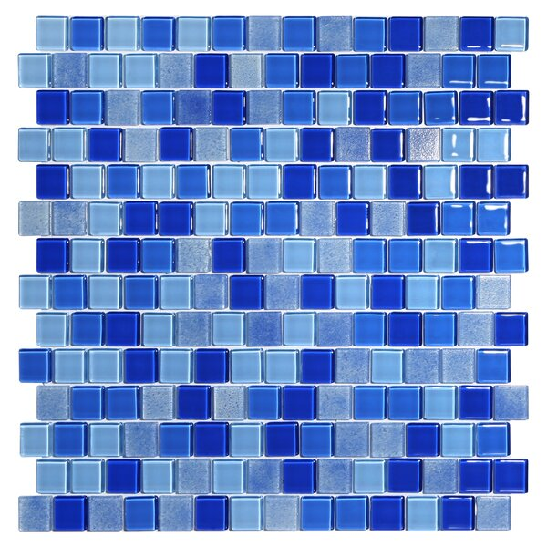 Tides 0.75 x 0.75 Glass Mosaic Tile in Cornflower by Kellani