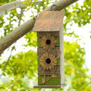 Wooden Flower 14.5 in x 5 in x 5 in Birdhouse