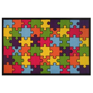 Fun Time Jigsaw Puzzle Machine Woven Blue/Green/Red Area Rug