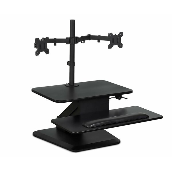 Hartley Sit Workstation Height Adjustable Converter Standing Desk with Dual Monitor Mount Combo