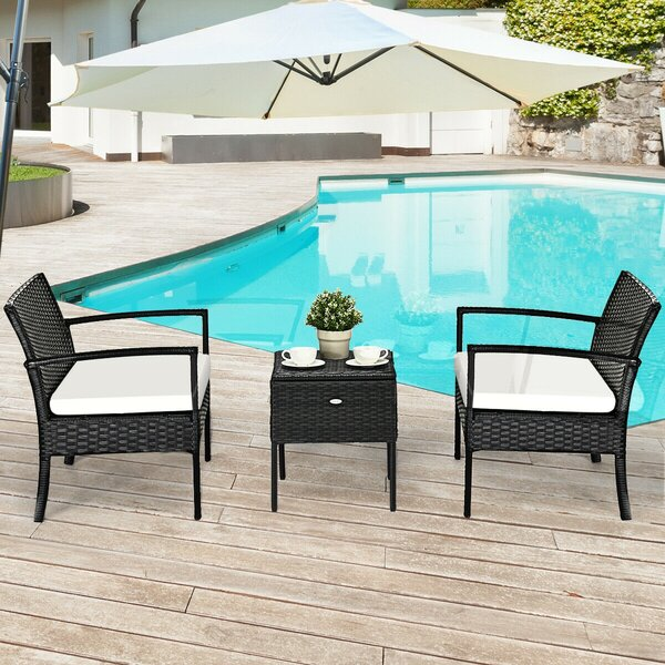 Damek Outdoor 3 Piece Rattan Seating Group with Cushions by Latitude Run