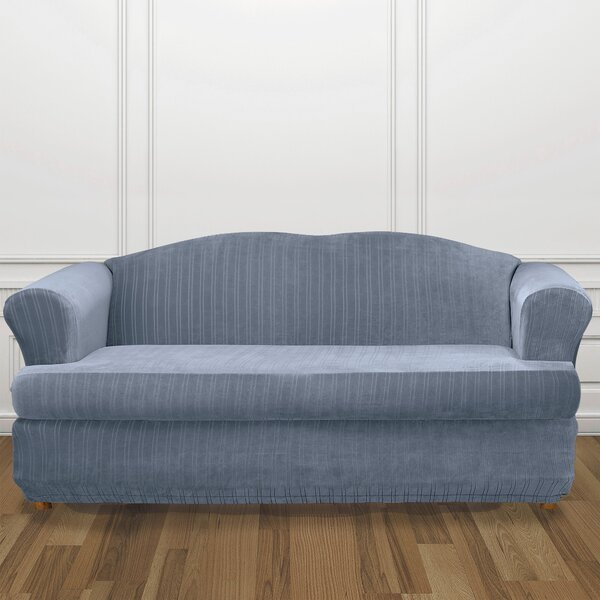 Stretch Pinstripe T-Cushion Sofa Slipcover by Sure Fit