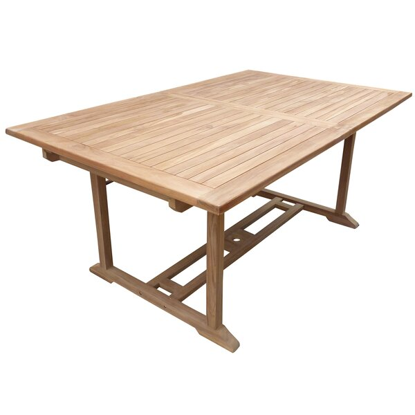 Cosper Rectangular Extendable Teak Dining Table by Highland Dunes