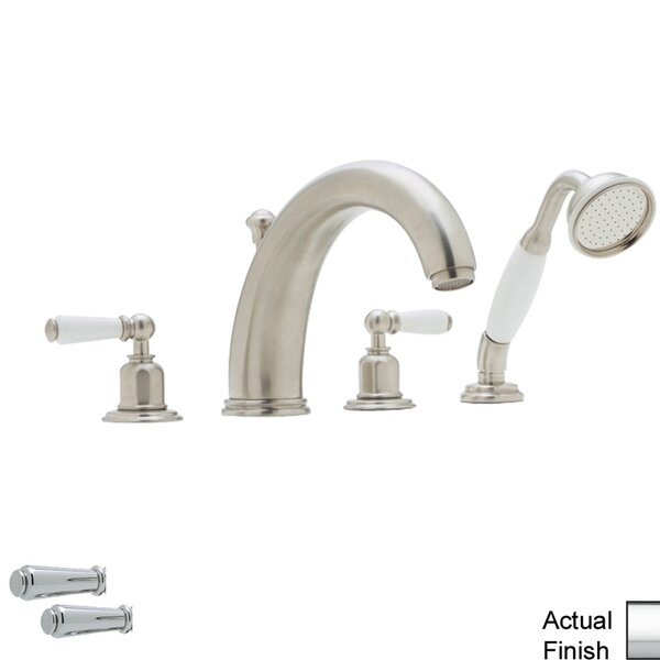 Perrin And Rowe Double Handle Deck Mounted Roman Tub Faucet With Handshower By Perrin & Rowe