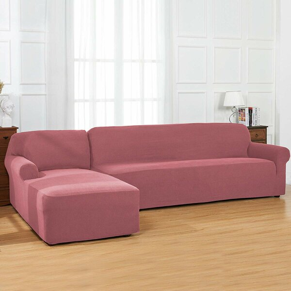 Bolee L-Shaped Jacquard Stretch Box Cushion Sofa And Chaise Lounge Slipcover By Winston Porter