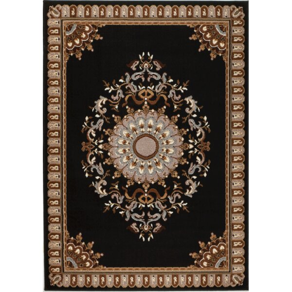 Oppelo Black/Beige Area Rug by Charlton Home