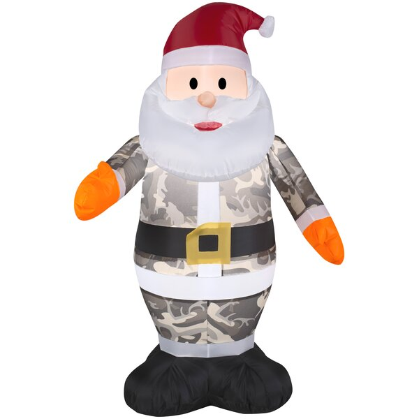 c5e6151433405 Santa In Camo Christmas Inflatable By The Holiday Aisle.