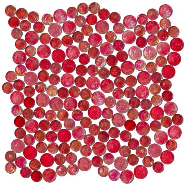 0.75 x 0.75 Glass Mosaic Tile in High-Gloss Red by Susan Jablon