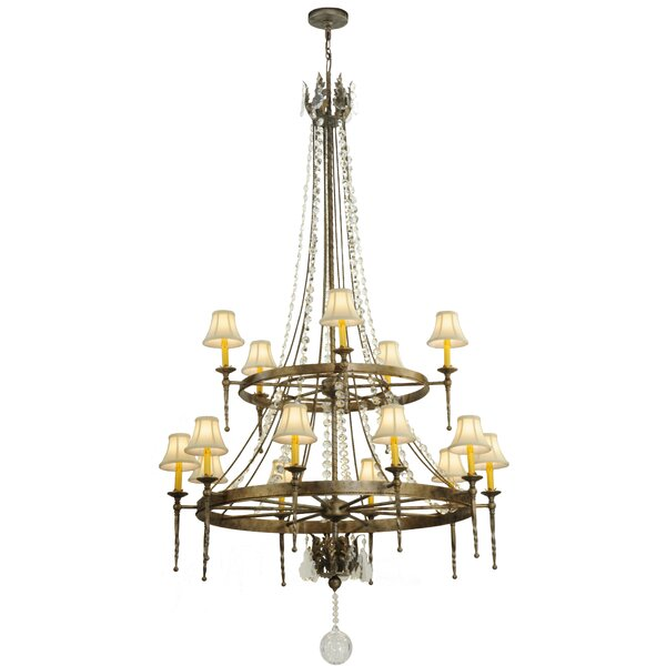 Lyana 15 - Light Shaded Wagon Wheel Chandelier By Astoria Grand
