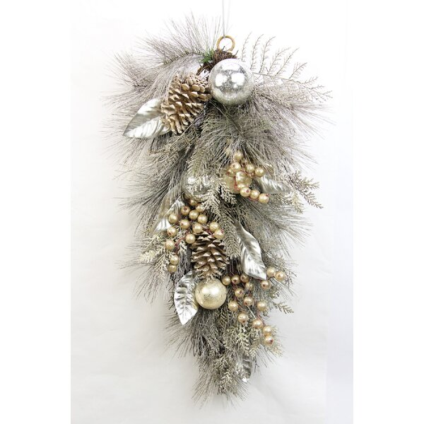 Metallic Pine Cone Ball Ornament Berry Cedar Christmas Teardrop Swag by Admired by Nature