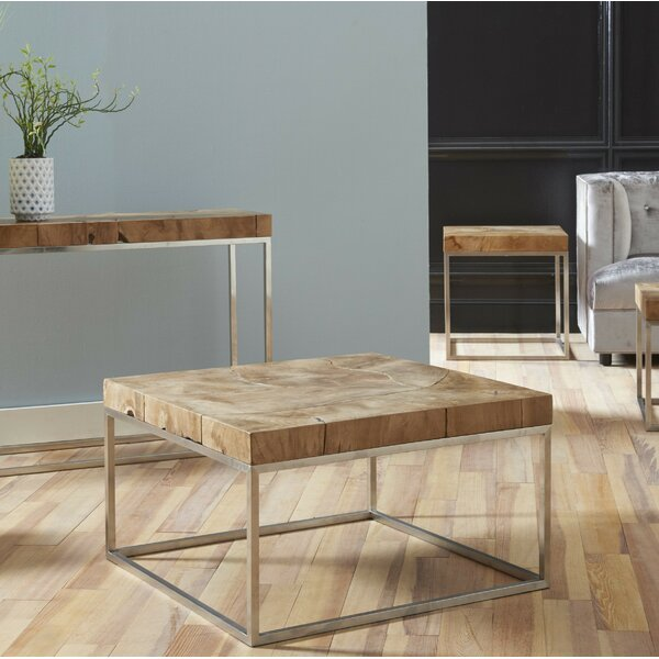 Clarkshire Teak Stainless Steel Coffee Table by Foundry Select