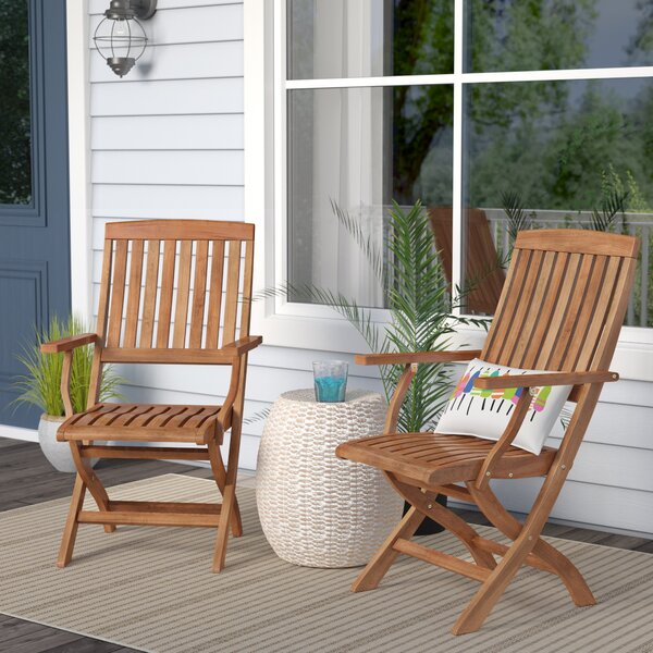 Joaquin Folding Patio Dining Chair (Set of 2) by Beachcrest Home