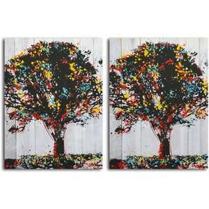'Tree of Knowledge' 2 Piece Painting Print on Canvas Set by Omax Decor